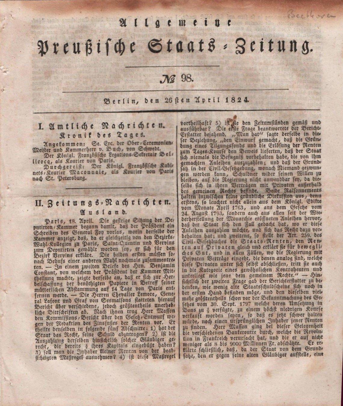 Preussische Staats Zeitung numero 98 del