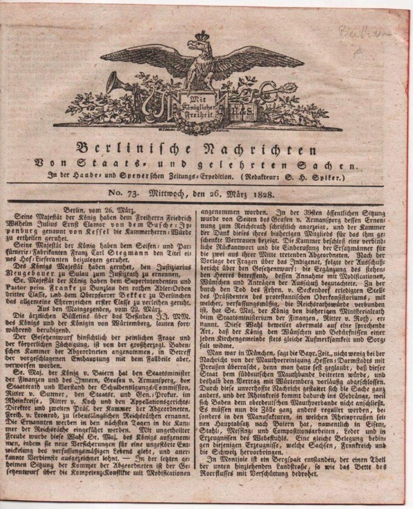 Raccolta di giornali d' epoca riguardanti notizie o opere beethoveniane