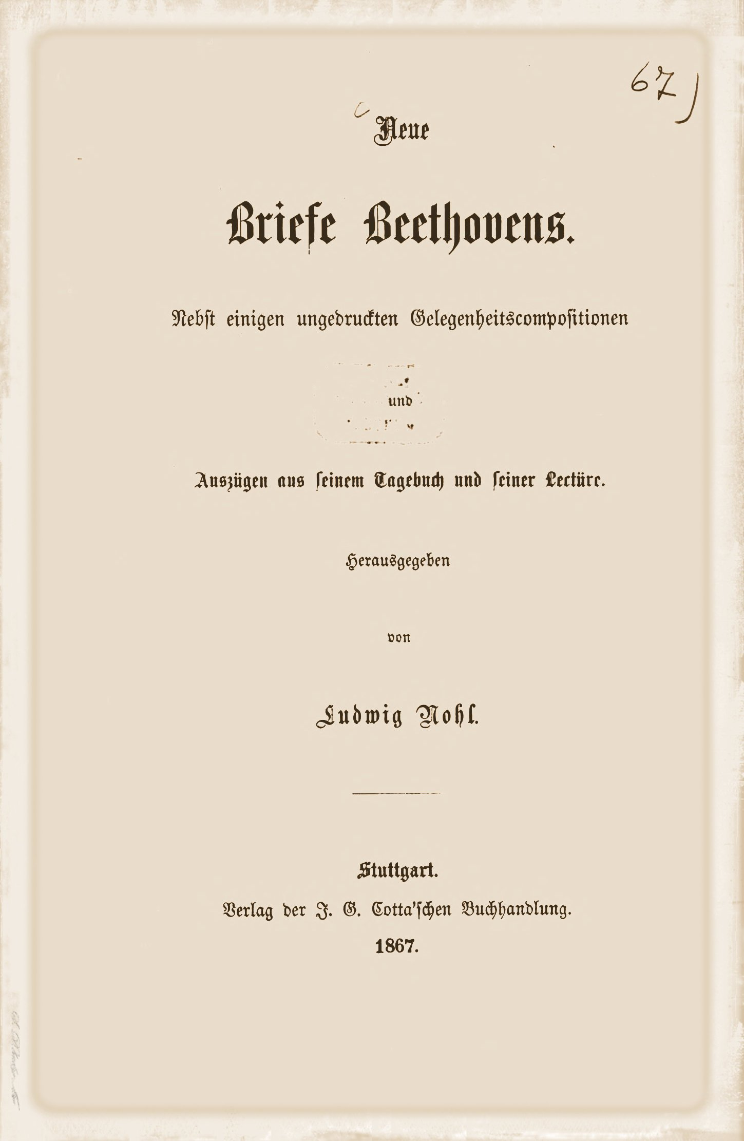 Briefe Beethoven : Nohl neue briefe beethovens lvbeethoven