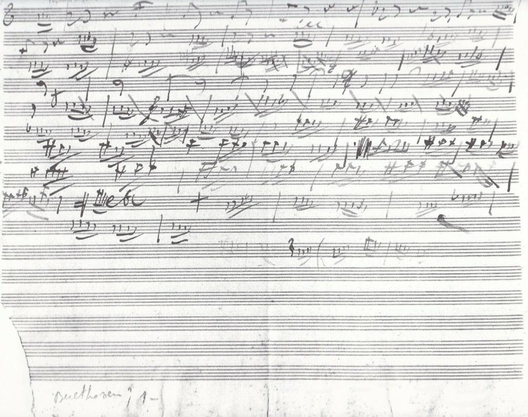 Skizzenblatt von Sommer 1800 zu Beethovens Streichquartett Op.18 Nr.2