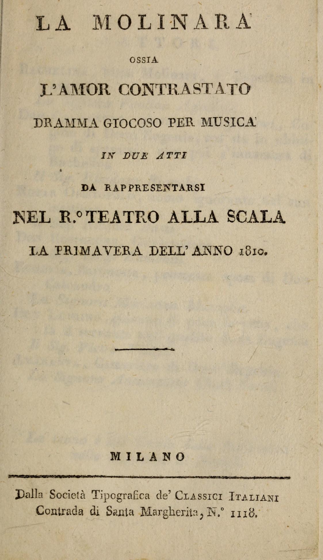 """Le Variazioni per pianoforte su """"Nel cor più non mi sento"""" della """"Bella Molinara"""" di Paisiello"""